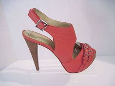 BE & D WOMEN'S PEBBLED LEATHER HEELS SHOES  BEAUTIFUL SALMON COLOR SIZE 38 1/2 #BeD #HEELS
