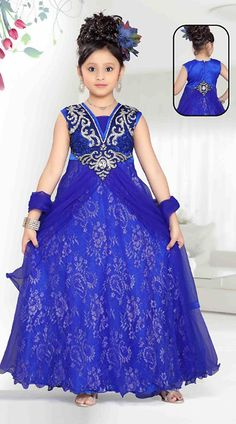Lovely Blue Brocade Readymade Kids Gown DT5014A29