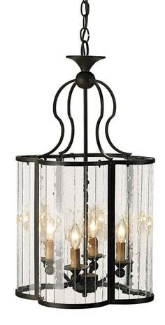 Rupert Cloverleaf Lantern in Wrought Iron with Curved Multi Panel Glass | Currey and Company