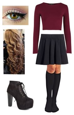 """Fall outfit #7♥"" by stephouorellana ❤ liked on Polyvore featuring Wet Seal, H&M and Lime Crime"