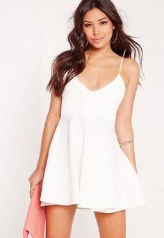 Strappy Plunge Skater Dress White