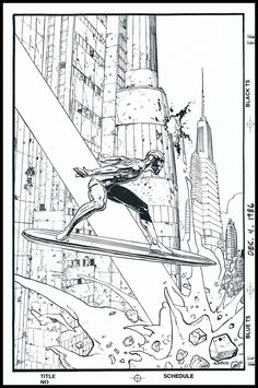 """""""Silver Surfer"""" © Marvel C.G by Jean Giraud 'Moebius', and Stan Lee """"Parable"""", - Original b/n drawing sketch by Moebius, signed from the Artist (Dec. - Used for the cover of """"Marvel Age"""", """"The Silver Surfer"""" Jean Giraud, Moebius Comics, Moebius Art, Stan Lee, Manado, Surfer D'argent, Panther, Nogent Sur Marne, Science Fiction"""