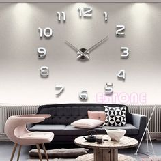 $12.49   Diy Large 3D Number Mirror Wall Sticker Home Big Watch Art Clock  Decor #
