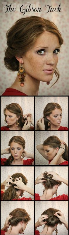 The Gibson Tuck – DIY Step By Step Hair Tutorial A quick and easy holiday undo. Would have to make it looser for curls. The Gibson Tuck – DIY Step By Step Hair Tutorial - I like the earrings too My Hairstyle, Pretty Hairstyles, Wedding Hairstyles, Natural Hairstyles, Makeup Hairstyle, Hairstyle Ideas, Classy Updo Hairstyles, Bridesmaid Hairstyles, Quinceanera Hairstyles