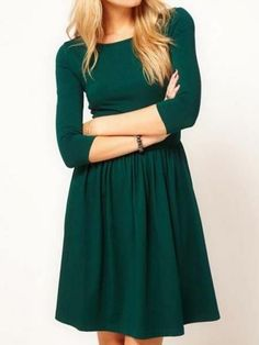 Green Plain Pleated Elbow Sleeve Elastic Waist Sweet Midi Dress