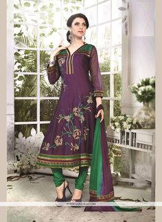 Add the feel of feminine elegance by this purple chanderi cotton readymade suit. The ethnic embroidered and patch border work over a attire adds a sign of elegance statement with your look. Comes with...