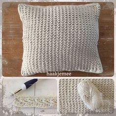 Ravelry: Haakjemee cushion pattern by Ingrid Geerings Crochet Home, Love Crochet, Diy Crochet, Crochet Pillow, Crochet Stitches, Knitting Patterns, Crochet Patterns, Crochet Decoration, Crochet Cushions