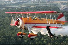 Jane Wicker, wing walker, at the CLEVELAND NATIONAL AIR SHOW.   #ClevelandAirShow #JaneWicker