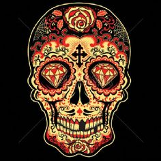 a11dcad57b5 Day of the Dead Red Sugar Skull Womens TANK TOP T Shirt 17343