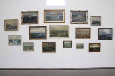 Create a themed wall of Art. Saw this at the Serpentine Gallery, London in June 2012. Hans-Peter Feldmann collected old seascapes for this display. Love it.