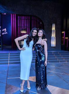 Deepika and Alia at Koffe with Karan Bollywood Lehenga, Bollywood Stars, Bollywood Fashion, Bollywood Celebrities, Bollywood Actress, Koffee With Karan, Aalia Bhatt, Deepika Padukone Style, Vintage Bollywood