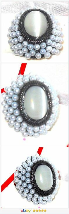 Cat's Eye Ring with glass Pearls in Black tone Stainless steel size 8 USA Seller #ebay http://stores.ebay.com/JEWELRY-AND-GIFTS-BY-ALICE-AND-ANN