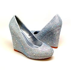 Available in US sizes 5.5-10. Rhinestones all around the shoe and the wedge. Discount available for weddings and special occasions.
