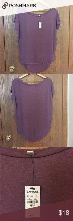 Express One Eleven off the shoulder tee. Cute mauvey purple off the shoulder tee. Express Tops Tees - Short Sleeve