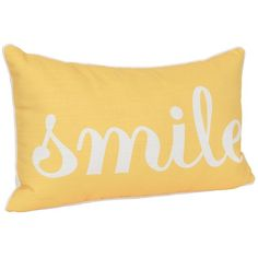 Yellow Smile Accent Pillow ($12) ❤ liked on Polyvore featuring home, home decor, throw pillows, pillows, yellow home accessories, yellow throw pillows, polyester throw pillows, yellow home decor and yellow toss pillows