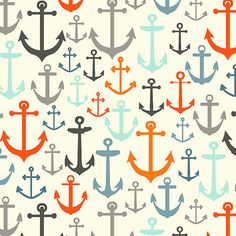 Colorful nautical anchor fabric.
