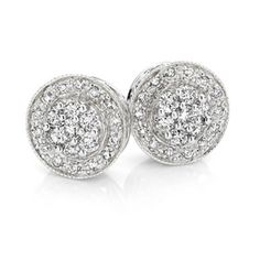 9ct White Gold Diamond Cluster Studs