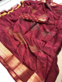 Style Array Present Beautiful Marron Color Branded Kasab Patta Saree . Buy This Attractive Look Beautiful Marron Color Branded Kasab Patta Saree Silk Cotton Sarees, Cotton Blouses, Sarees For Girls, Sari Fabric, Indian Sarees, Ethical Fashion, Saree Blouse, Sustainable Fashion, Indian Fashion