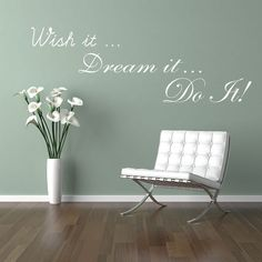 Wall Decal Inspirational Quote Wish It Dream by TheWallStickerComp