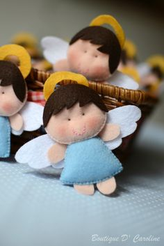Angels in felt - these would be cute on a baby crib mobile Felt Christmas Ornaments, Angel Ornaments, Christmas Angels, Christmas Crafts, Christmas Decorations, Christmas Trees, Angel Crafts, Felt Crafts, Holiday Crafts