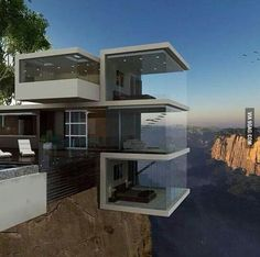 House over cliffs edge. Would you sleep here?
