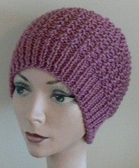 The Inside Out Knit Chemo Cap  Knit Head Hugger  Designed by: Joyce Forker. Knitting one in soft denim colors for kerry.