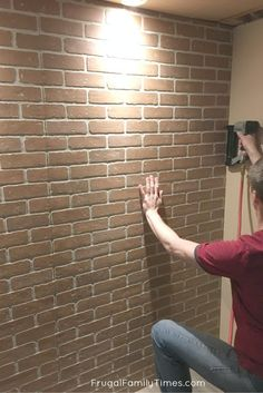 You CAN make a faux brick wall look real! A brick accent wall adds so much character and texture to a boring room. This post covers how to install brick paneling to make an authentic looking fake brick wall - here's how to hide seams in brick paneling. Brick Veneer Panels, Faux Brick Wall Panels, Fake Brick Wall, Brick Wall Paneling, Brick Face, Brick Accent Walls, Faux Walls, Brick Walls, Brick Wall In Bedroom