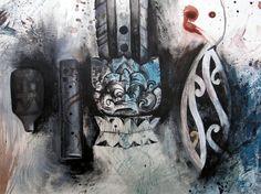 Expressive drawing of Maori instruments Maori Art, A Level Art, Mark Making, Artist Painting, New Art, Making Ideas, New Zealand, Culture, Contemporary