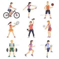 Buy Sport People Flat Icons Set by macrovector on GraphicRiver. Sport people flat icons set with men and women cycling playing football and tennis isolated vector illustration. People Illustration, Flat Illustration, Graphic Design Resume, People Icon, Sport Icon, Athletic Women, Animal Design, Vector Pattern, Icon Set