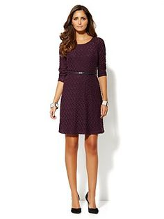 Knit is perfect for fall and winter, and we love seeing it in dresses, like this Wavy-Knit Self-Tie Dress from New York & Company. Because knit is a thicker texture and you'll be wearing a lot of it the next two seasons, be sure to move those tee-shirt bras aside and treat yourself to a gorgeous fashion bra or (or two) from Bra~vo intimates.
