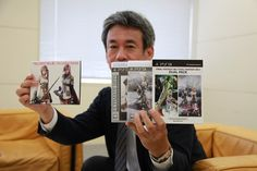 """""""Final Fantasy producer Shinji Hashimoto showing off the Final Fantasy XIII double pack and special OST collection."""" Final Fantasy 25th Anniversary Event Gallery at Shibuya Hikarie - GameSpot.com"""