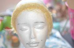 Yellow fuzzy headband by jfaypaperdolls on Etsy