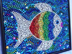 "Original Mardi Gras bead ""rainbow fish"" mosaic, art, colorful, blue, aqua, silver, children's room decor, 18 x 14. $62.00, via Etsy."