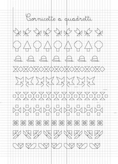 Border (open or fill-in) Graph Paper Drawings, Graph Paper Art, Zentangle Drawings, Zentangle Patterns, Easy Drawings, Cross Stitch Borders, Cross Stitch Baby, Cross Stitch Patterns, Aluminum Foil Art