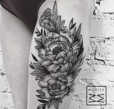 Tattoo by Mariya Summer, Moscow, Russian (Instagram @mariyasummer).  10 Gorgeous Black And Grey Peony Tattoos