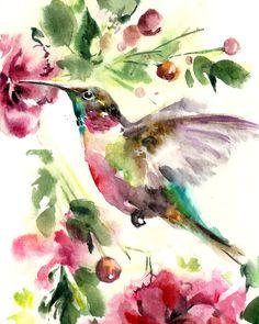 Hummingbird Watercolor Painting Art Print, Bird Art, Watercolor Painting, Bird Illustration