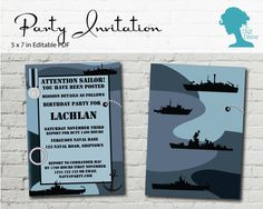 Navy Party Invitation $10AUD by The Digi Dame Printable Party Decor thedigidame.com