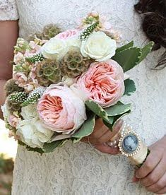 white and pink bridal bouquet   Peony White Veronica Varigated Pitt scabiosa