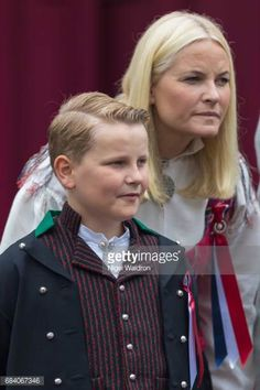 Crown Prince Haakon and his family at Children's Parade in Asker, May 17, 2017