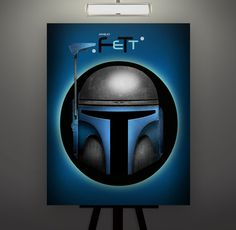 Star Wars Inspired Jango Fett Helmet 11X14 Signed Art by Herofied
