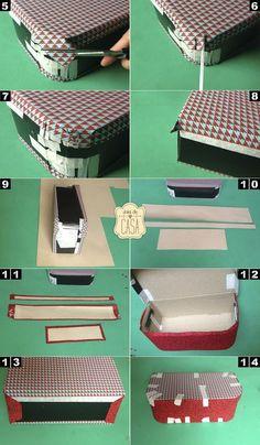 .A gente tem sempre uma caixa de sapato sobrando em casa, então é hora de transforma-la em algo que você possa usar por muito e muito tempo! Eu tinha visto alguns tutoriais para fazer maletinhas de cartonagem e fiquei inspirada! Pra quem não conhece, a...