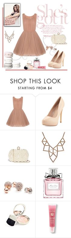 """SGI!"" by mysterygirrl ❤ liked on Polyvore featuring Lara Khoury, Charles by Charles David, GUESS, Chicnova Fashion, Christian Dior, By Terry, Lancôme, cute, Pink and dress"