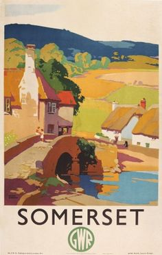 Somerset GWR Railway Frank Sherwin, 1930s - original vintage railway poster by Frank Sherwin listed on AntikBar.co.uk