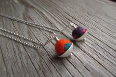 Felted Wool and Sterling Silver Essential Oil Necklace. Aromatherapy Small Felt Pendant. Colorful Felt and Silver Necklace. by QuietTimeJewelry on Etsy https://www.etsy.com/listing/198342407/felted-wool-and-sterling-silver
