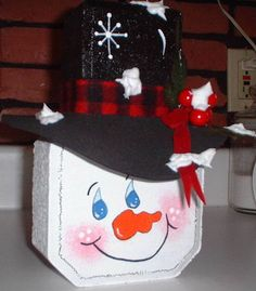 Bricks Crafts, Crafts Do, Christmas Painted Bricks Crafts, Brick Crafts, Painted Pavers, Stone Crafts, Painted Rocks, Snowman Crafts, Christmas Projects, Holiday Crafts, Holiday Ideas