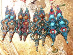 Macramé earrings with semi-precious beads