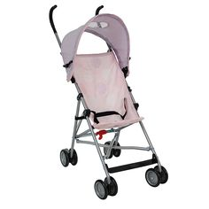 The Babies R Us Umbrella Stroller is a great value lightweight stroller in fun designs that your toddler will love. The extended handle height offers added comfort when pushing. A three point harness keeps baby safe and secure, the canopy with peekaboo window shades baby on sunny days. The Stroller folds compactly in an umbrella-style fold and is ideal for day trips and holidays.