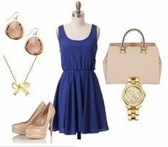 Combinación con vestido azul eléctrico