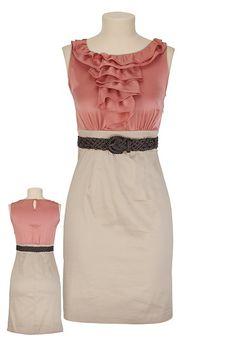 Ruffle Top Belted 2Fer Dress