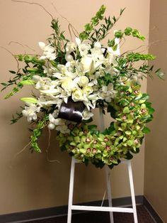 Green Cymbidium, White Dendrobium, White Roses, White Lily